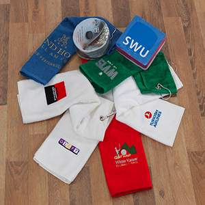 yarn dyed embroideried border jacquard printed transfer printed promotional towels producing exporting golf towel
